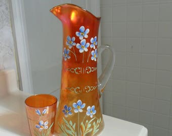 Antique Fenton Carnival Glass Marigold ''FORGET ME NOT'' Tumbler and One Tumbler - Vintage Art Glass - Iridized Collectible Glass(367)
