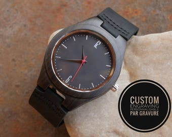Personalized wood watch black leather bracelet, engraved man gift
