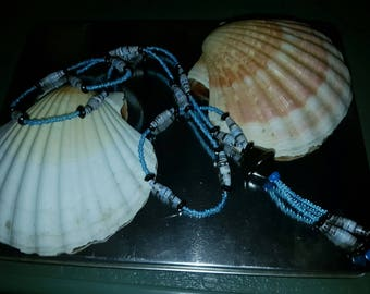 Paper and blue seed beads necklace