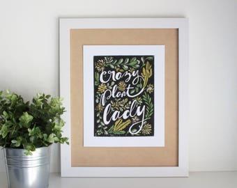 """Linocut Relief Print """"Crazy Plant Lady"""" 8x10"""