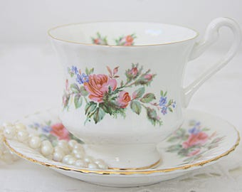 Vintage Royal Standard Cup and Saucer, Lady Size, Pink Rose Decor, England