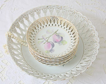 Vitage Porcelain Dessert Bowl Set/Cake Set with Plum Decor, Fruit Decor, Reticulated Rim