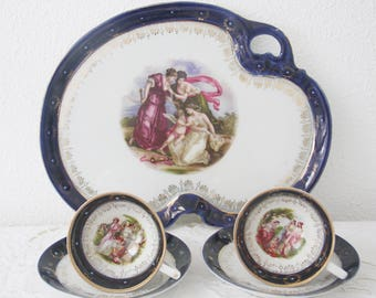 Set of Two Antique Demitasse Cups and Saucers and Matching Serving Tray, Angelica Kaufmann Portret Decor