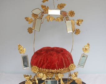 Beautiful Antique French Display Stand, Gold Gilt Toleware, Globe de Mariage Interior