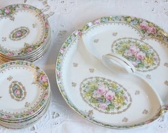 Lovely Antique Schlegelmilch Porcelain Divided Dish with Handle, Twelve Petit Four Plates, Petit Four Set, Pastel Flower Decor, Germany