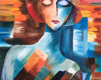 """Abstract Elegant Woman """"18x24"""" Canvas 