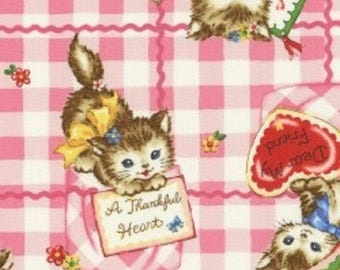Pocket Kittens - Valentine Kittens on Large Pink Gingham Background by the Half Yard