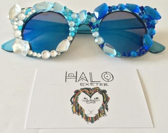 Ice queen embellished sunglasses. Festival and party accessory