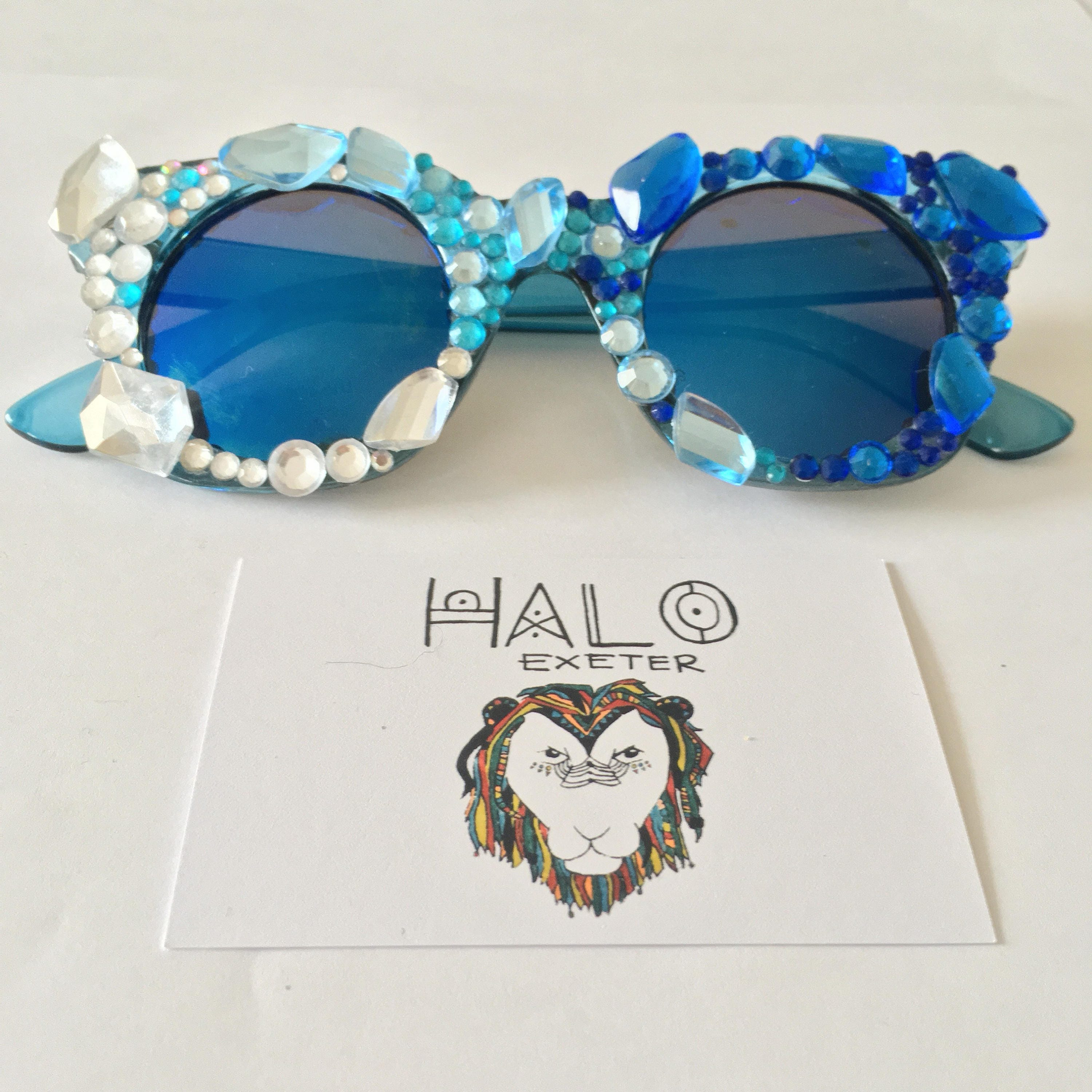 aba03b156a Ice queen embellished sunglasses. Festival and party accessory