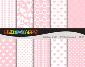 70% OFF Love Heart Pink Digital Papers, Heart Pattern Graphics, Personal & Small Commercial Use, Instant Download