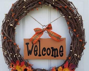Fall Grape Vine Welcome Wreath