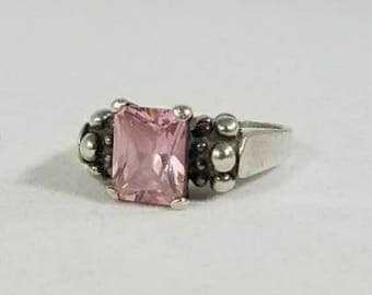 Vintage Sterling Silver Pink Cubic Zirconia 925 Ring Size 8
