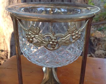Brass Stand with Bowl-Hollywood Regency Glass Bowl & Brass Stand–Grape Vines with Lattice-Candy Dish-Compote Bowl Pedestal-Flower Stand