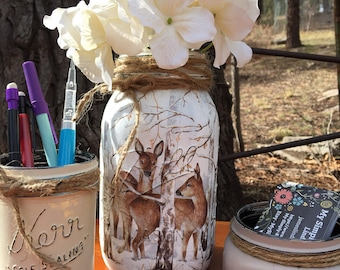 Mason Jar Deer Desk Set-Desk Set-Deer Mason Jar Office-Desk Organizer-Mason Jar Office Set-Office -Desk Decor-Desk Set-business card jar