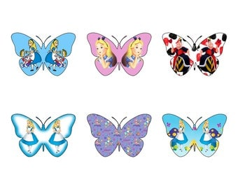 12 Gorgeous Alice In Wonderland themed  Butterfly Edible Wafer Paper Cupcake Cake Toppers