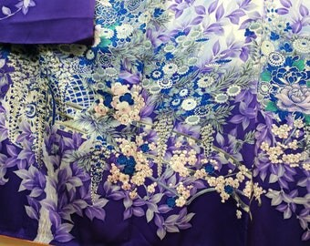 Blue floral Furisode Traditional Japanese kimono