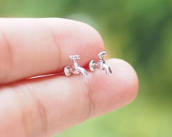 Water Tap Stud Earrings, 3D Tap studs, 925 Sterling Silver, Cartilage Stud, Gift for Her - SA295
