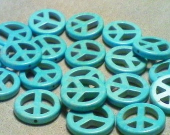 Turquoise peace sign beads; turquoise dyed Howlite, peace sign beads, 20x3mm, 4pcs/2.80.