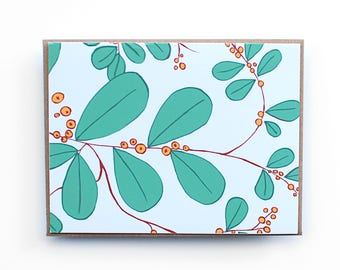 All Occasion Card, Floral Card, Blank Card, Handmade decorative card, Hand drawn botanical card, Leaf and berry pattern