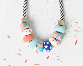 Statement necklace, Blue, Bead necklace, Jewelry clay, Polymer necklace, Modern Chunky necklace, Colorful necklace, Beads, Clay necklace