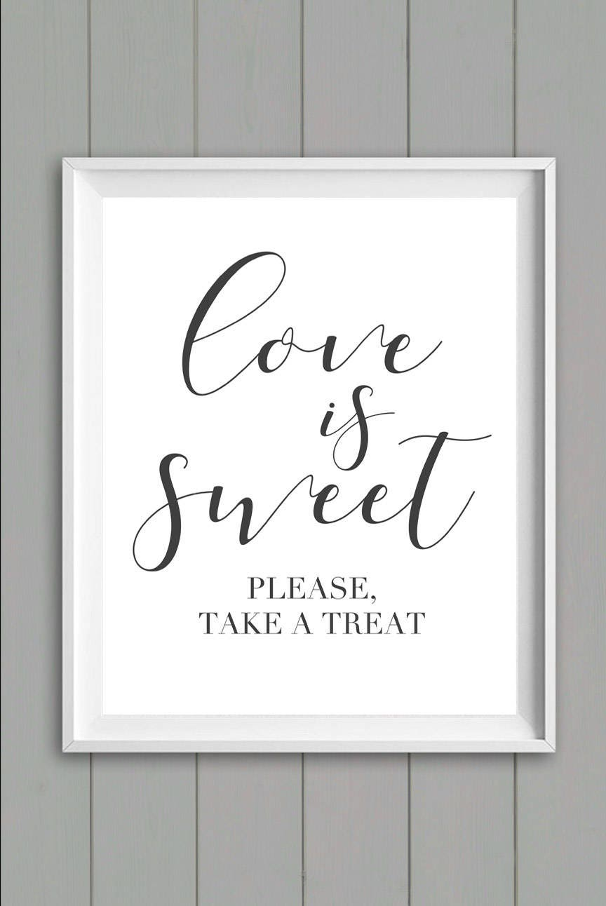 Love Is Sweet Sign Wedding Candy Table Favor Printable