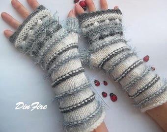 Women L 20% OFF Fingerless OOAK Boho Mittens Bohemian Gloves Romantic Striped Warm Accessories Gift Hand Knitted Wrist Warmers Winter 878