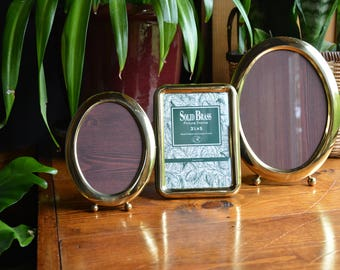 Vintage Solid Brass Oval and Square Picture Frames / Set of Three Brass Photo Frames / 5x7 - 3 1/2x5 Picture Frames