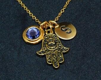 Antique gold Hamsa hand necklace, swarovski birthstone, initial necklace, birthstone necklace