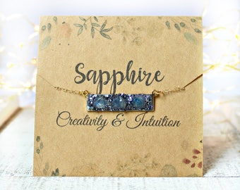 Sapphire Necklace, Sapphire Jewelry, September Birthstone Necklace, Raw Sapphire Necklace, Rough Sapphire, Natural Sapphire