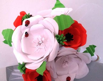"""Pink origami bouquet & poppies """"Miss happiness"""""""