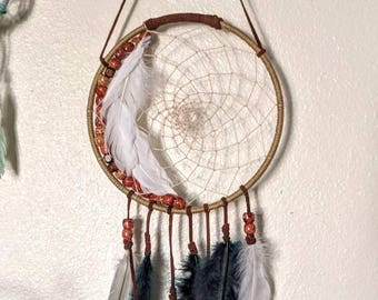 Floral Beaded Dreamcatcher Wall Hanging