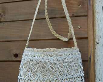 with lace string bag