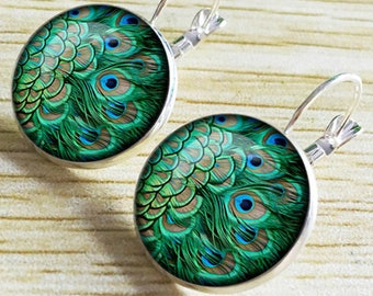 1 pair earrings peacock feathers