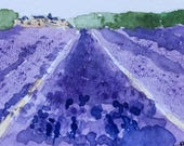 Landscape ORIGINAL Miniature Watercolour 'Lavender Fields' ACEO  For him For her,Home Decor Wall Art Gift Idea Free Shipping