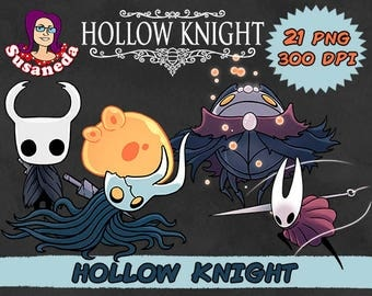 HOLLOW KNIGHT Cliparts Pack, 21 png cliparts transparent background, instant download