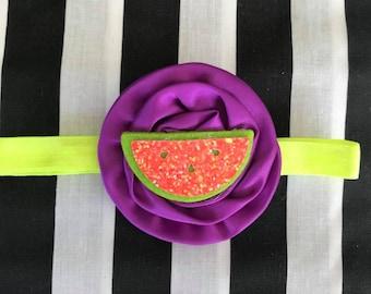 Baby headband, flower headband, watermelon headband, tropical headband, fruit headband, neon headband, purple flower headband