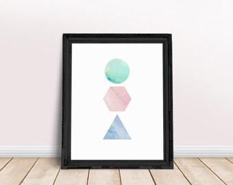 Geometric Marble Art | Triangle Art Decor, Marble Decor Print, Marble Prints, Triangle Abstract, Hexagon Wall Decor, Triangle Wall Decor