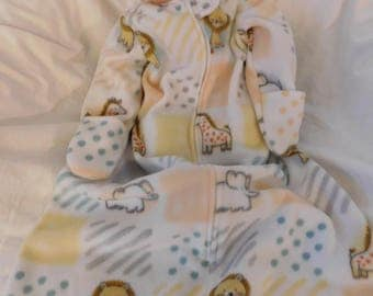 BABY Fleece SLEEP SACK --  available in S,M,L or X-L  -- Baby soft fleece - with or without mittens