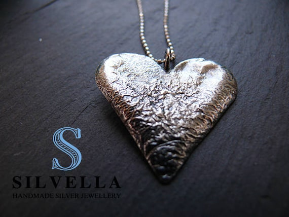 Reiculated Heart Pendant - Heart Necklace - Handmae in Wales - Silver Gifts - Gift for Her