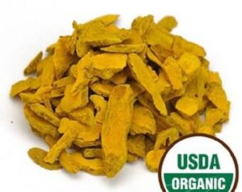 Turmeric Root Sliced, Organic 1 POUND (lb.)