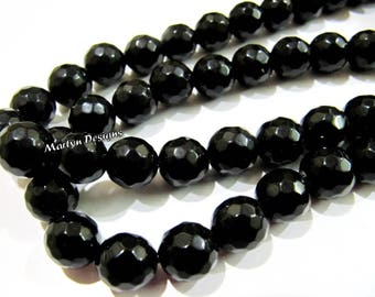 AAA Quality Black Onyx Beads , Round faceted Beads 10 mm , Sold Per Strand of 15 Inches Long , 38 Beads Approximately , Hole Size 1 mm.