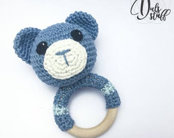 Crochet and wooden baby rattle and teether.