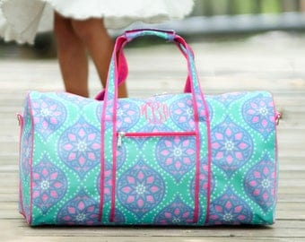 Monogram Duffel Bag, floral Duffel, pink monogram, travel set, monogram travel, girls overnight bag, cheerbag, camp bag, monogram gift