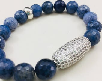 Blue dumotierite beaded bracelet with cz pave accent • Fast and free shipping