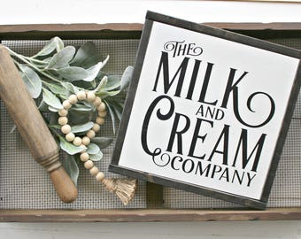 Milk and Cream Sign,farmhouse,farmhouse sign,home decor,farmhouse decor,wood sign,modern farmhouse,Home and Living, Wall Decor,Shiplap