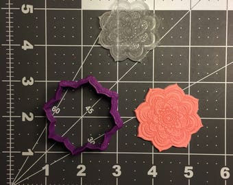 Flower 100 Cookie Cutter and Stamp (Embossed)