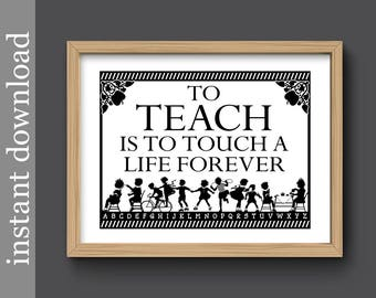 Teacher Gift, Teacher Printable, instant download, class gift, classroom art, classroom printable, children silhouette, gift for teacher