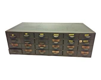 Vintage Metal Cabinet organizer tool 18 DRAWER parts bin industrial green 50s 60s rustic shabby garage LYON toolbox storage man cave heavy