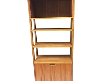Danish Modern WALL UNIT mid century vintage cabinet storage bookcase etagere 60s shelving shelf bar teak cupboard brown 50s