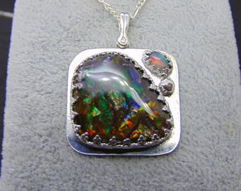 ammolite opal pendant bringing constant change  solid sterling silver opal ammolite flashy pendant necklace fire opal accent square pendant